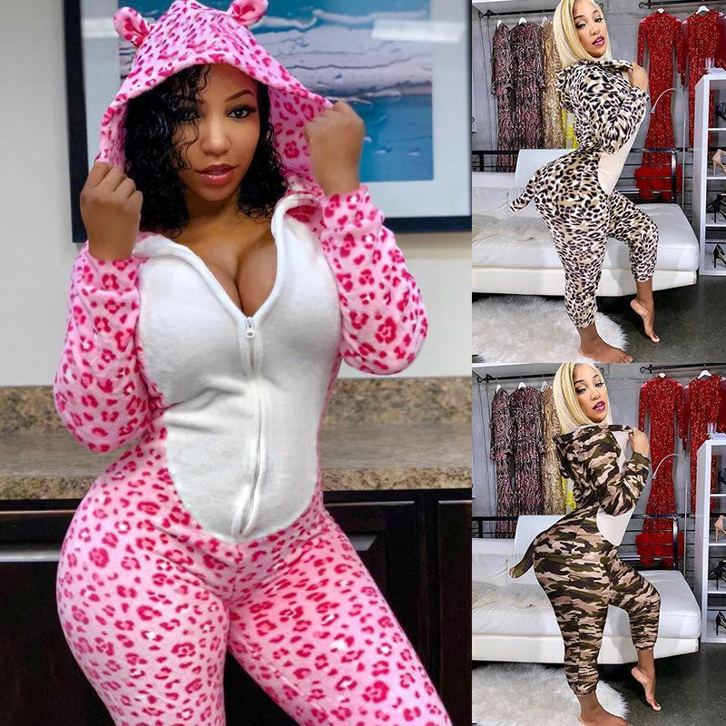 Europe and America Explosion 2020 Women`s New Autumn And Winter fashion Hooded Tail Costume Leopard Print Sexy casual Jumpsuit Women
