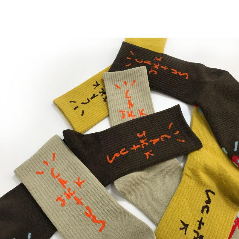 Mens Socks Travis Scott Fortress Night Skateboard Fashion Mens Letter Printed Socks Sports Socks Sockings Hip Hop