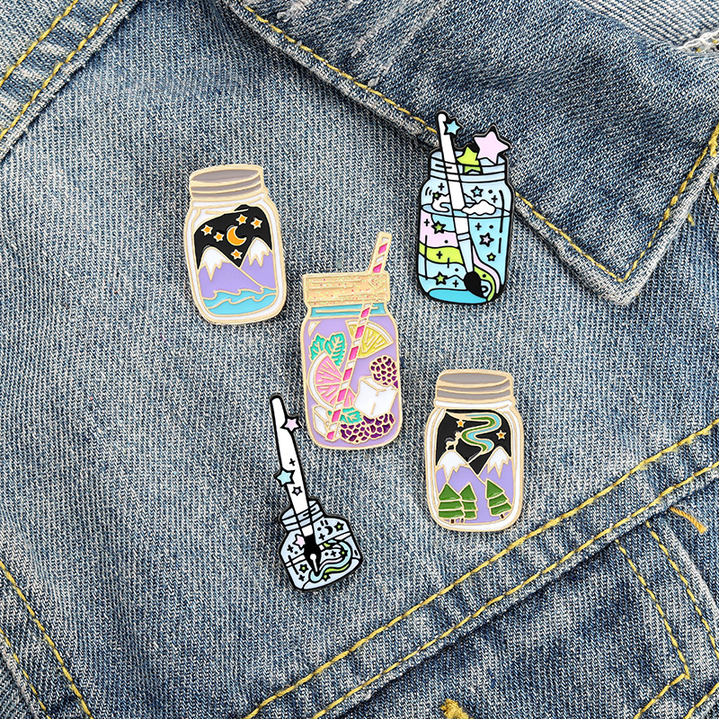 Bottle Cute Enamel Brooches Pin for Women Fashion Dress Coat Shirt Demin Metal Brooch Pins Badges Promotion Gift 2021 New Design