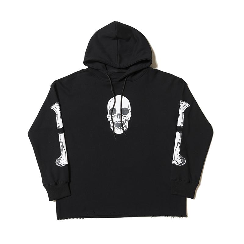 Hoodies Mens Stylist Hip Hop Sweat Human Bone Print Sweatshirt Men Women Sweat Black size S-XL