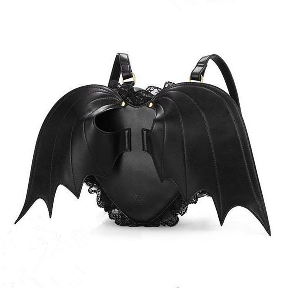 New Lovely Black Bat Wings Angel School Backpack For Women Teenage Girl Backpack Ladies Mochila Feminina Devil Punk Stylish
