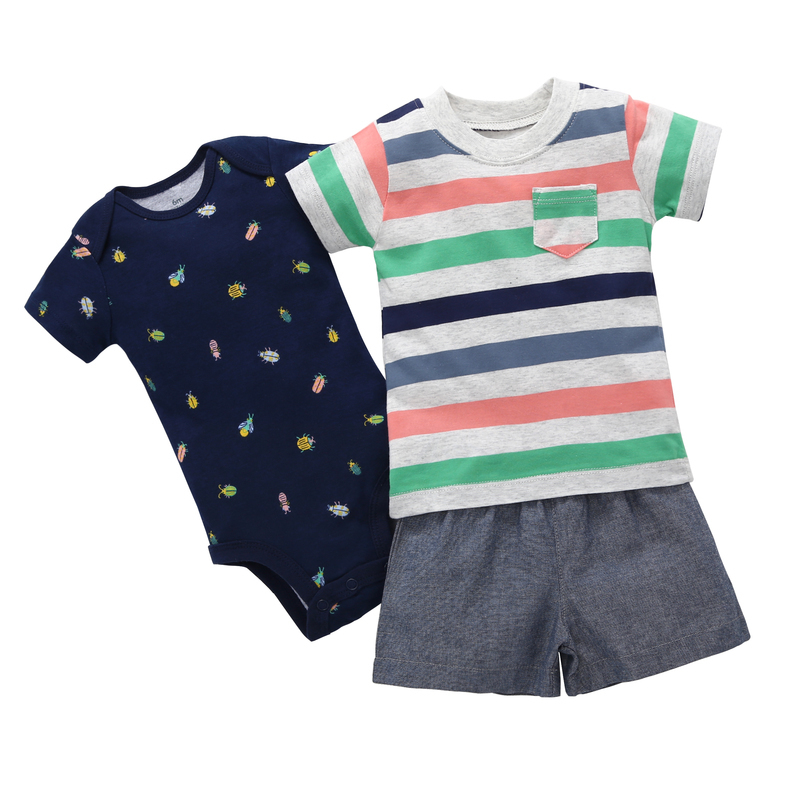 short sleeves colorful stripe T-shirt+bodysuit+shorts 3 piece clothes set for 0-24 baby boy summer costume for baby boy