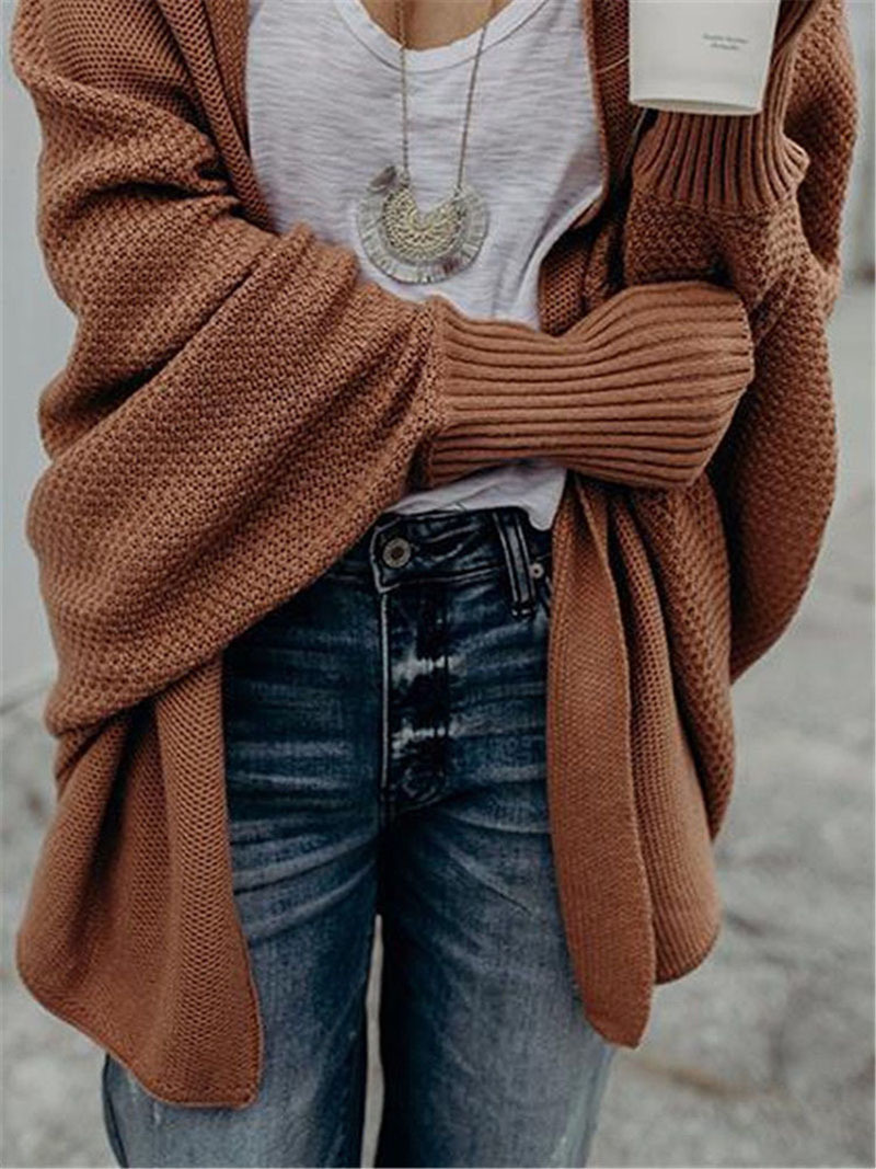 2019 winter new women sweaters casual plus size batwing sleeve kintted winter women cardigan ladies tops clothing (14)