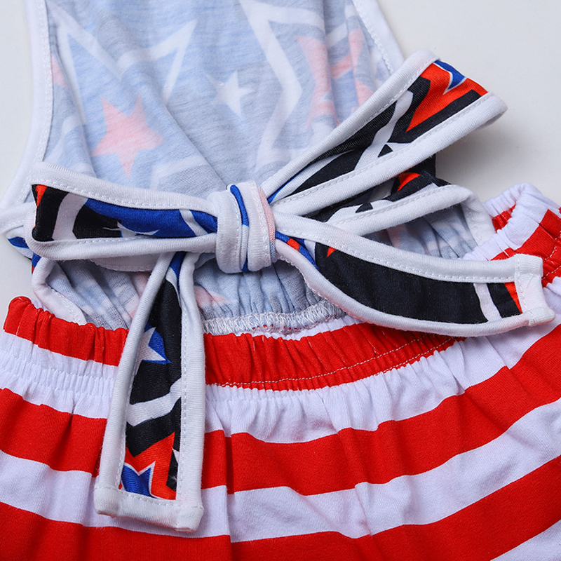 Girls Striped Dress Set American Independence Day Stars Dresses Kids Casual Clothing Girls Outfits July Fourth Infant Sling Dress 060416