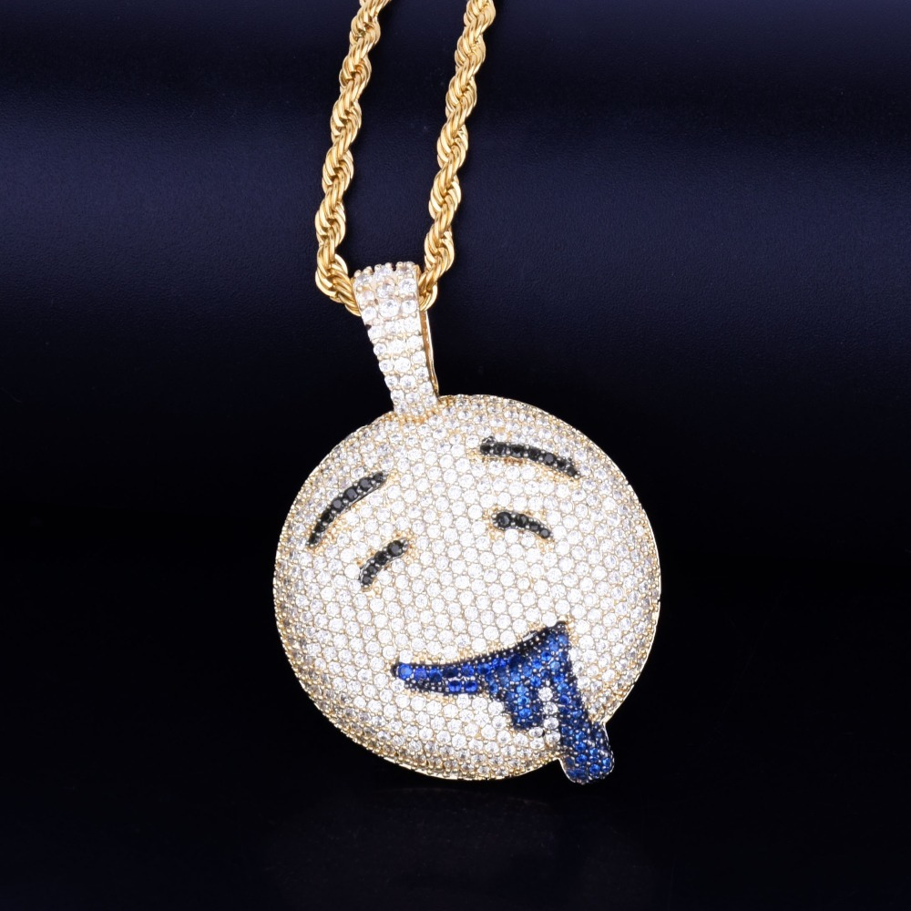 Drool-Round-Face-Pendant-With-Tennis-Chain-Gold-Color-Charm-Bling-Cubic-Zircon-Men-s-Hip
