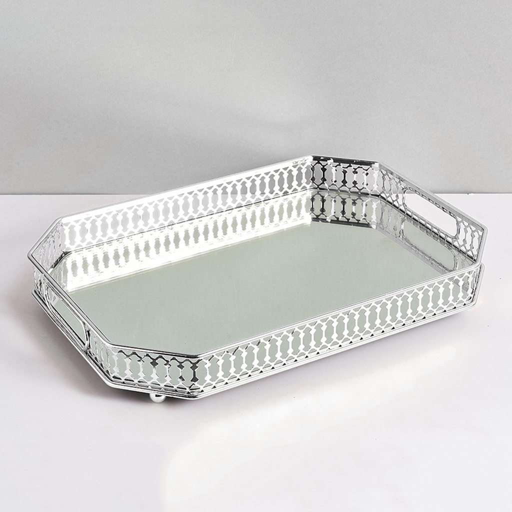Decorative Mirrored Makeup Tray Mirror Perfume Glass Vanity Jewelry Serving Tray
