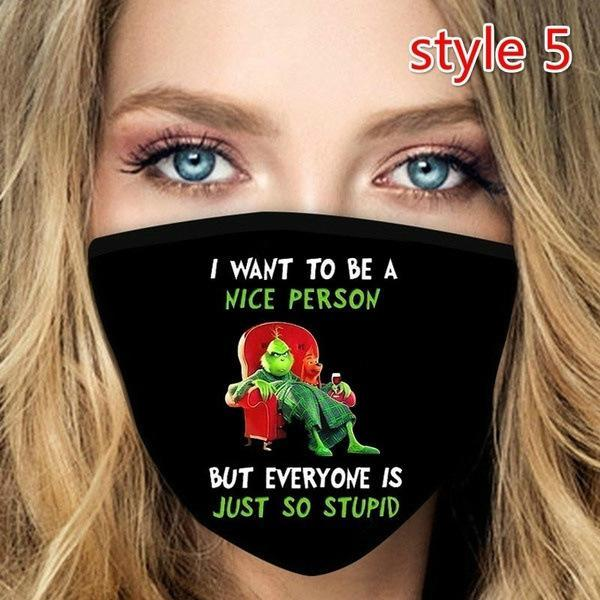 Bestselling 3D Print Cosplay Cotton Party Face Masks Reusable Washable Dust Proof Cute Fashion Adult Face Mask Grinch Stole Christmas