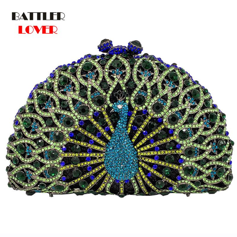 Luxury Bags Women Green Crystal Women Peacock Clutch Evening Bag Party Minaudiere Handbag Wedding Clutches Bridal Diamond Purse