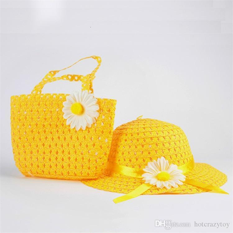 Lovely Flower Children sunhat Kids Girl Casual Children Beach Sun Straw Hat Cap + Straw Tote Handbag Bag Set fit 1-6 Years child