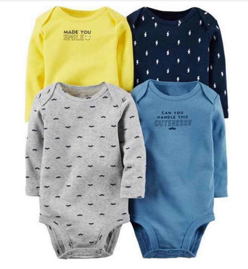 4pcs/lot Spring Autumn long Sleeve 4piece of set Original bebes Baby Boy Girl clothes set Newborn Bodysuit kids Clothing