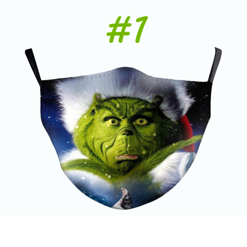 New Design Top Version Grinch Stole Christmas 3D Print Cosplay face Masks reusable washable dust proof cute fashion face mask Free DHL