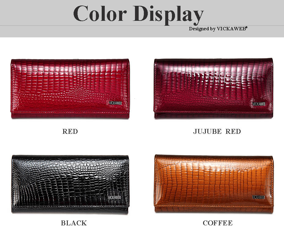 VICKAWEB Long Thick Wallet Female Fashion Alligator Purse Women Genuine Leather Standard Wallets Hasp womens wallets and purses-003