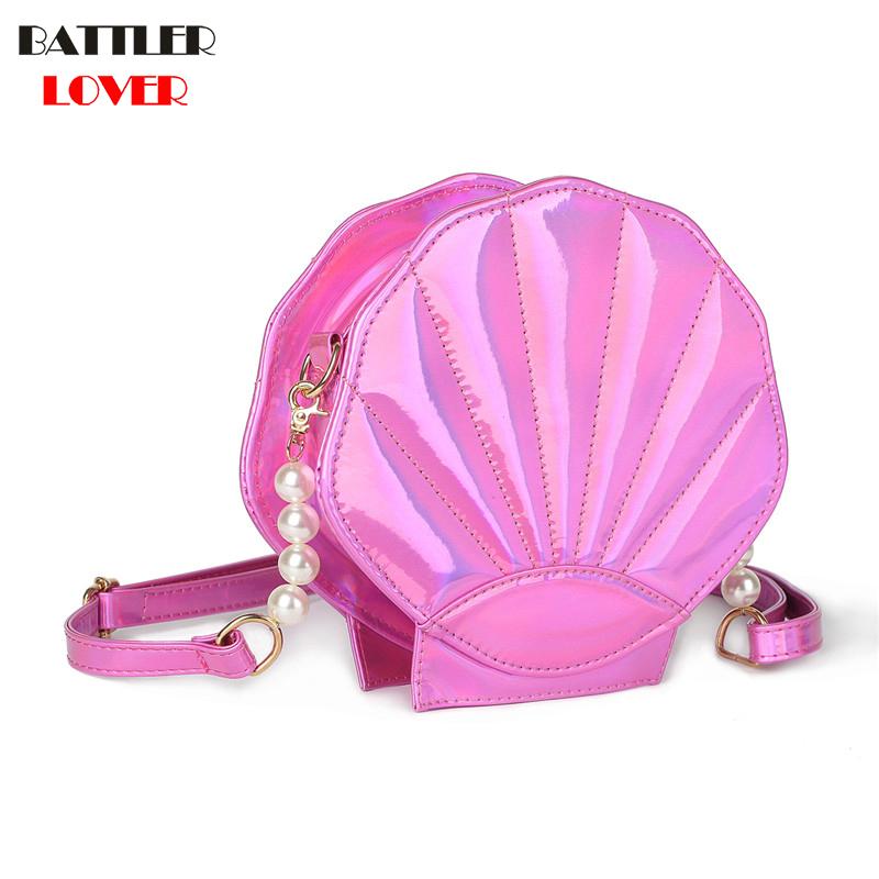 New Cute Beach Bag PU Leather Laser Lolita Mini Crossbody Bags for Women Novetly Handbags Sea Shell Shape Luxury Girl Funny Flap