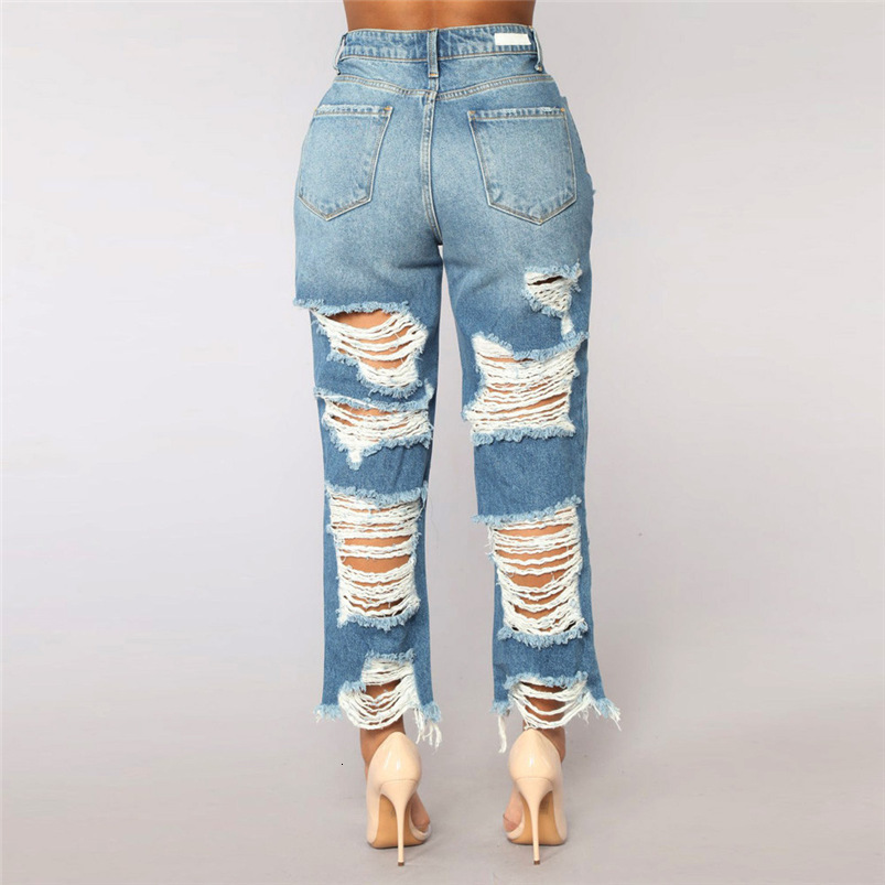 Hole Jeans Woman Plus Size New Sexy Pencil Pants Denim Skinny Stretch Soft Tights Jeans Trousers Dropshipping #FS05 (8)