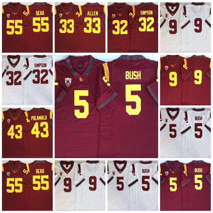 2020 Vintage USC Trojans #5 Reggie Bush 32 OJ Simpson 14 Sam Darnold 9 Kedon Slovis 43 Troy Polamalu 55 Junior Seau Jersey