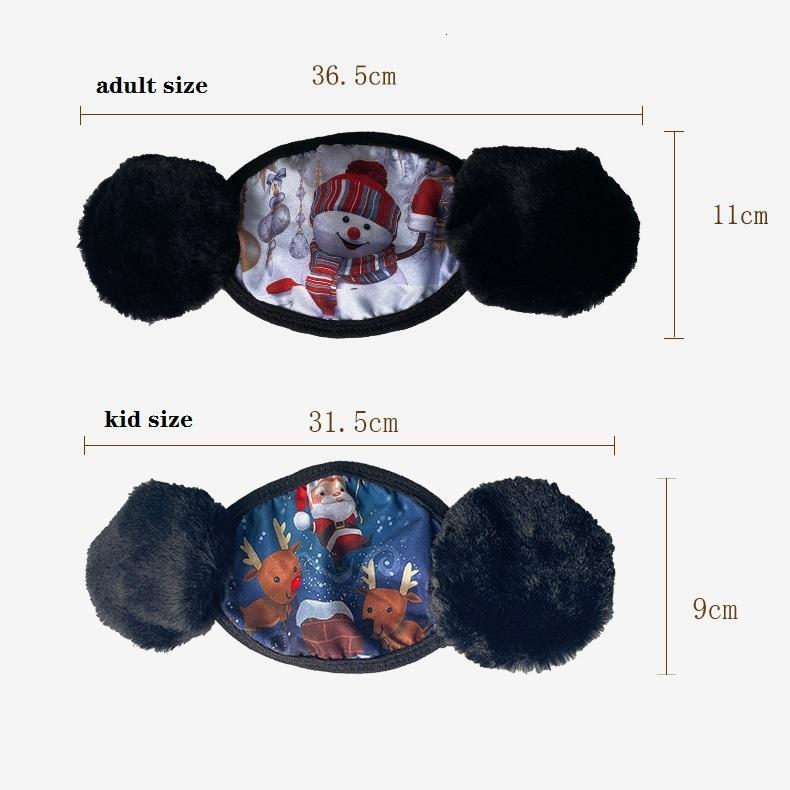 Christmas Design Cartoon Face Mask Cover 2 In 1 Earmuff Windproof Protective Thick Warm Mouth Masks Winter Mouth-Muffle Earflap