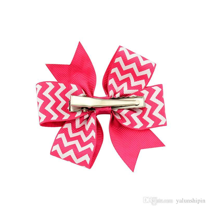 3 Inch Waves Design Grosgrain Ribbon Bows Girls Hair Accessories With Clip Boutique Bows Hairpins 611