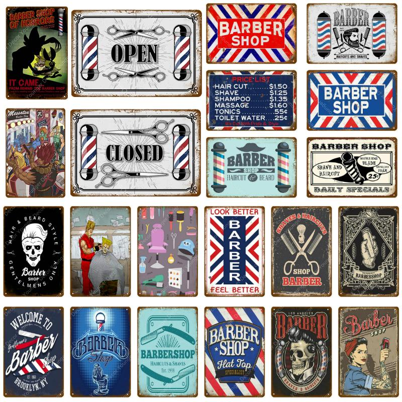 2021 Vintage Barber Shop Crafts Metal Signs Wall Sticker Open Closed Advertising Plaque For Pub Bar Club Shop Home Decor Hair Cut Poster