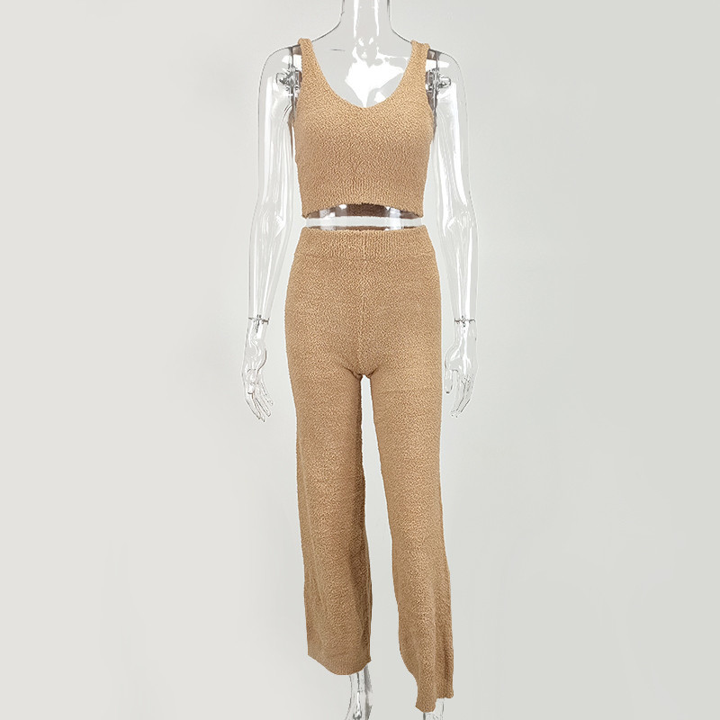 Woman-Sweaters-Two-Piece-Sets-Solid-Color-V-neck-wide-leg-pants-Knitted-Sweater-Set-Autumn (3)