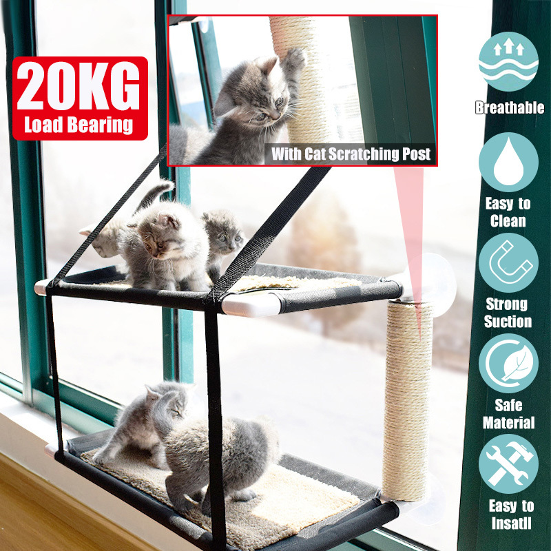 with 6 Suction Cups Saving Space Breathable Mesh WANTRYAPET Double Layers Cat Window Perch for Cat Cat Window Seat Pet Durable Bed Cat Window Bed Hammock Up to 20lb Cat hammocks for Indoor Cats