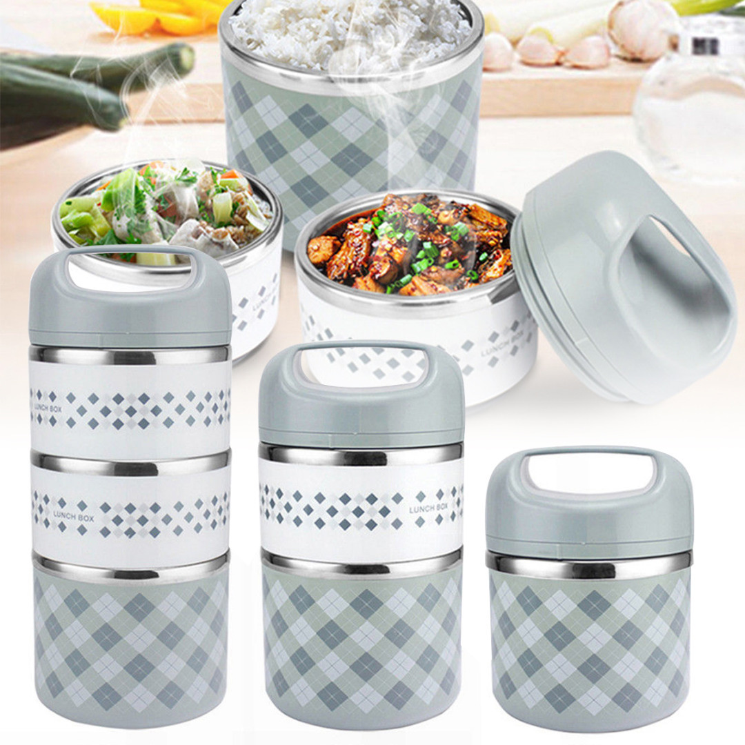Stainless Steel 2/3 Layer Insulated Thermal Lunch Box Food Storage Container