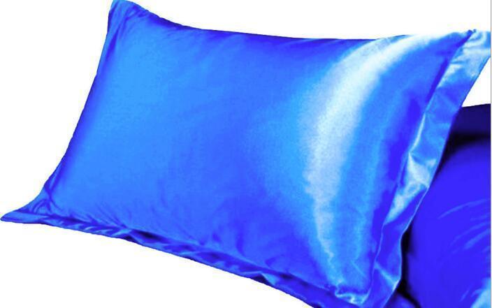 Christmas Solid Color Silk PillowCases Double Face Pillow Case High Quality Charmeuse Silk Satin Pillow Cover Bedding Supplies