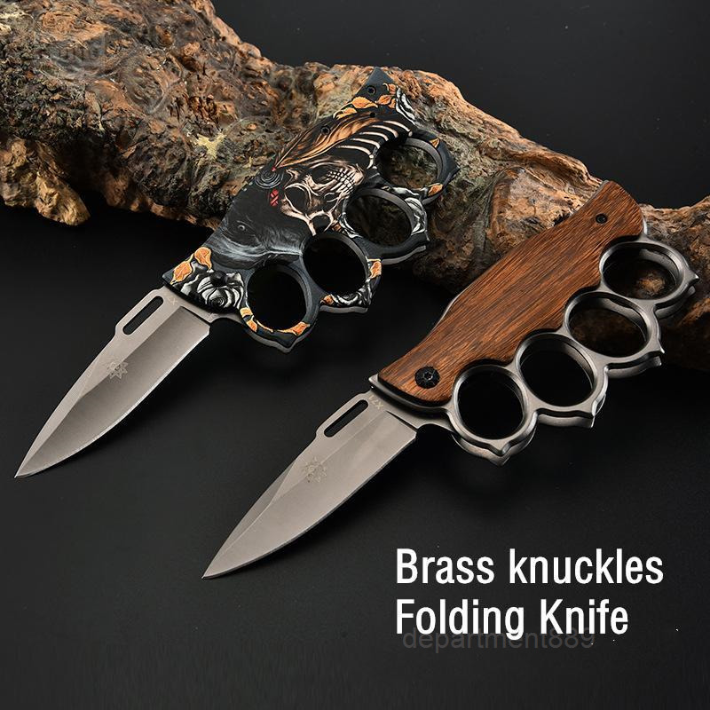 Folding Muti-function Folding Knife Brass knuckles shape outdoor camping self-defense tool knife stainless steel knife NF005