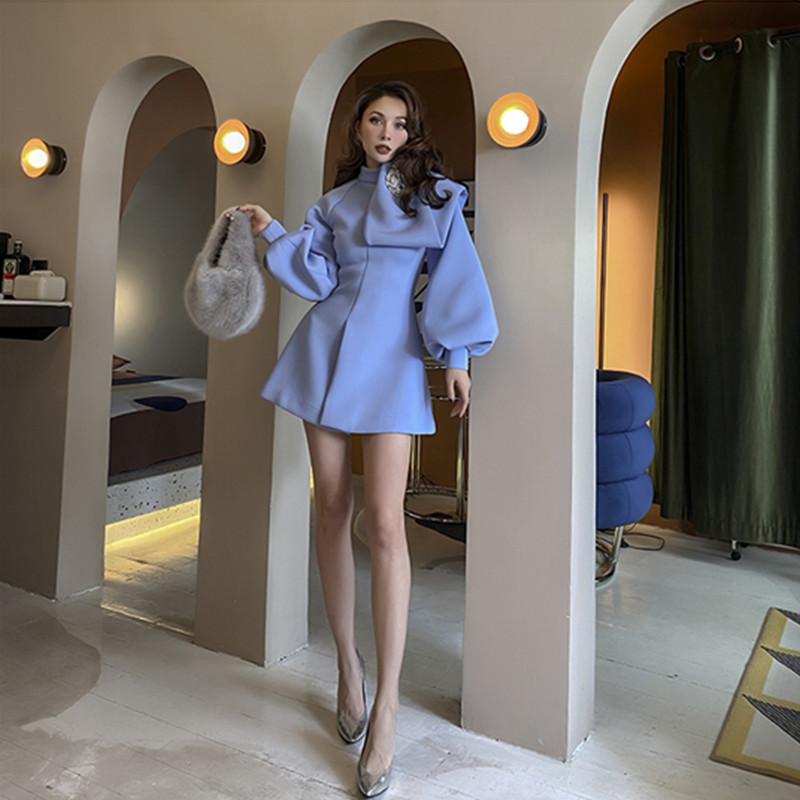 2021 Le Palais Vintage Original Autumn New Hot Microelastic Thin Blue Sky Streetwear Feminine Fashion Dress Casual MH7G