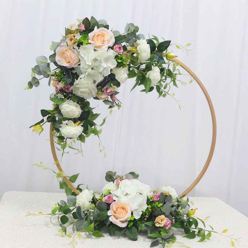 JAROWN New Wedding Party Table Centerpiece Flower Stand Artificial Flowers Home Round Backdrop Frame Shelf Decoration Accessories (3)