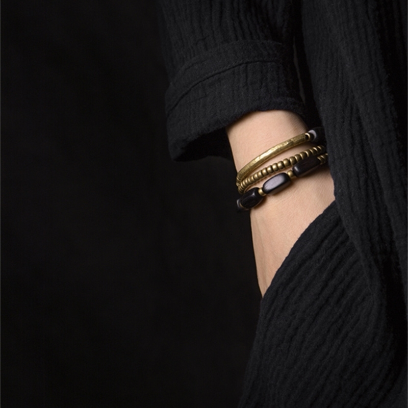 Multi-Layer-Handcrafted-Brass-Tube-Ebony-Strip-Beads-Bracelet-Black-Wood-Wristbands-For-Men-Women-Metal-Necklace-Wrist-Ornament (10)