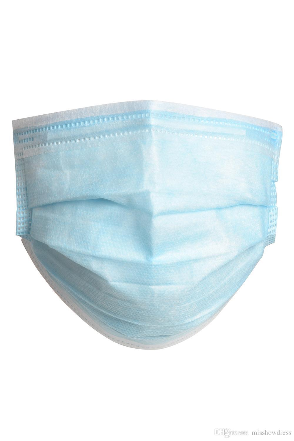 DHL Free Ship 3 ply Disposable Face Masks PM2.5 mascherine Elastic Mouth masque Soft Breathable Face Mask In Bulk Stock