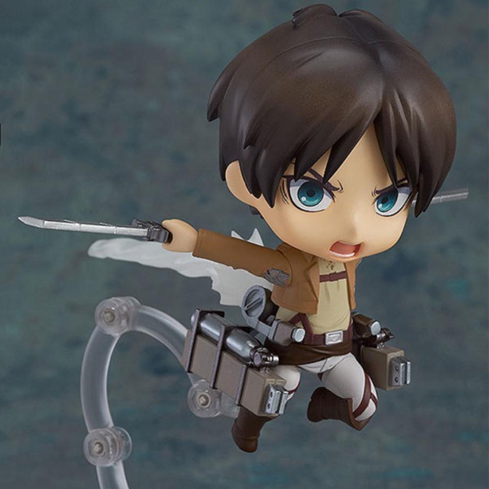 Attack on Titan Anime Figures Eren Jaeger #375 PVC Cute Toys Action Figurine Model Collectible Levi Eren Collection 10cm Figma