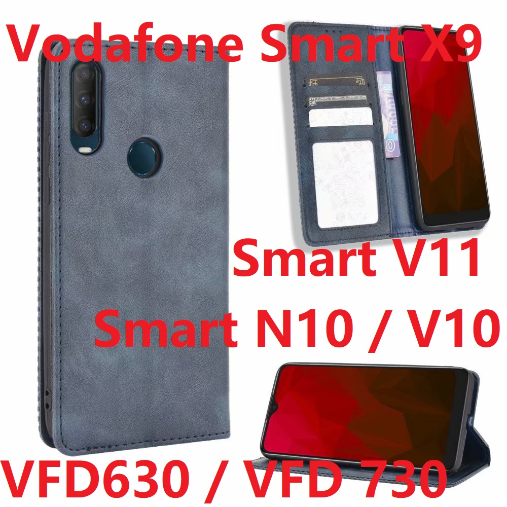 For Vodafone Smart N10 V10 Flip Case Magnetic Book Stand Card Protective Silicon Vodafone Smart X9 V11 Wallet Leather Phone Cover