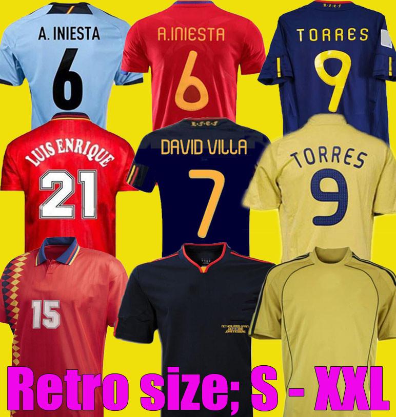 retro 2008 2012 1996 1994 final 2010 Spain retro Soccer Jerseys RAUL A.INIESTA PIQUE XAVI VILLA TORRES David Villa camiseta Football shirt