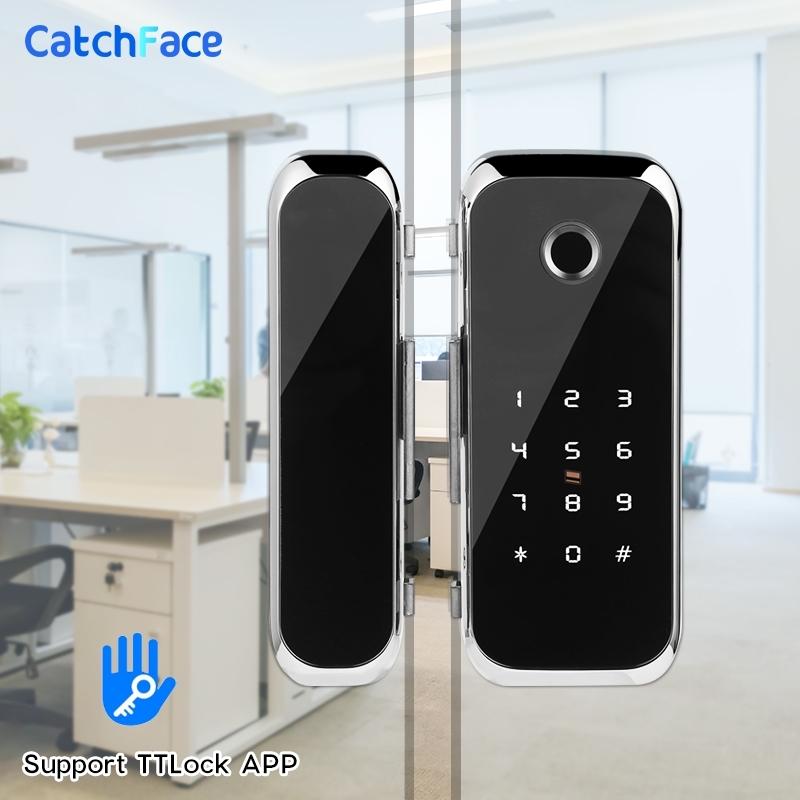 TTlock APP Fingerprint Smart lock WiFi remote control with IC card password for frameless glass door push or sliding door 201013