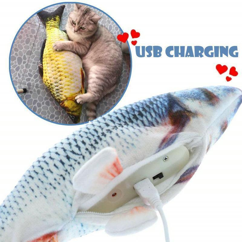 Flop Fish Usb Cat Charger Kitten Supplies Toy Catnip Toy Fish Electric Interactive Cat For Cat Toys Moving Bite Wagging Chew bbyFTP