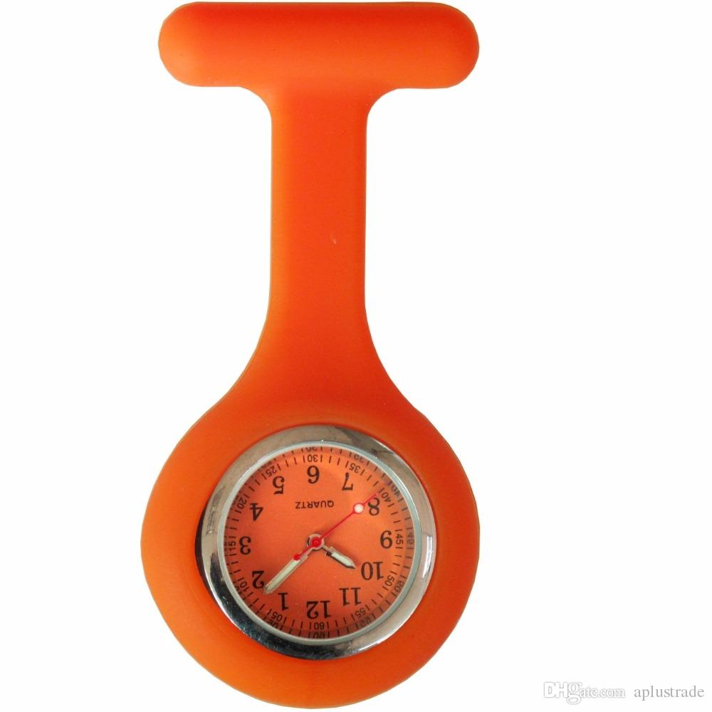 NEW fashion full colors design silicone rubber soft pin nurse FOB pocket watch unisex ladies women doctor medical hang watches