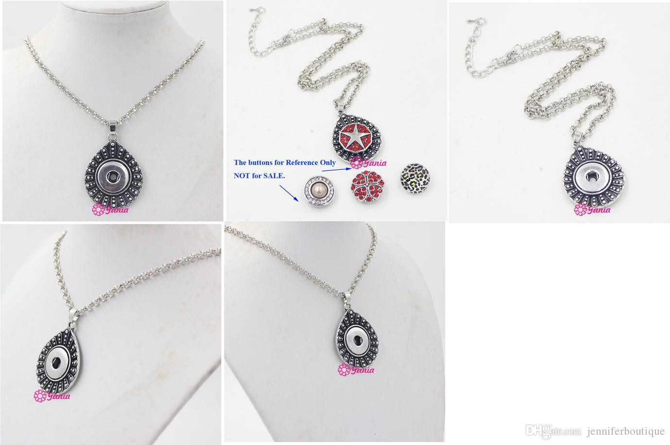 New Arrival Wholesale DIY Snap Jewelry 18mm Snap Water Drop Pendant Necklace Snaps Necklace for 18mm Snaps Jewelry