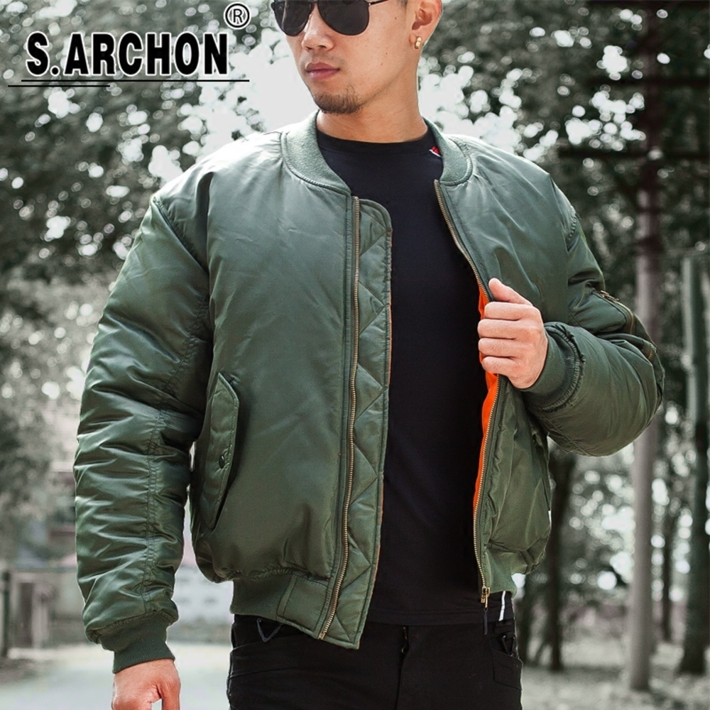 MA1 Men Winter Warm Military Airborne Flight Tactical Bomber Army Air Force Fly Pilot Jacket Aviator Motorcycle Down Coat, Green