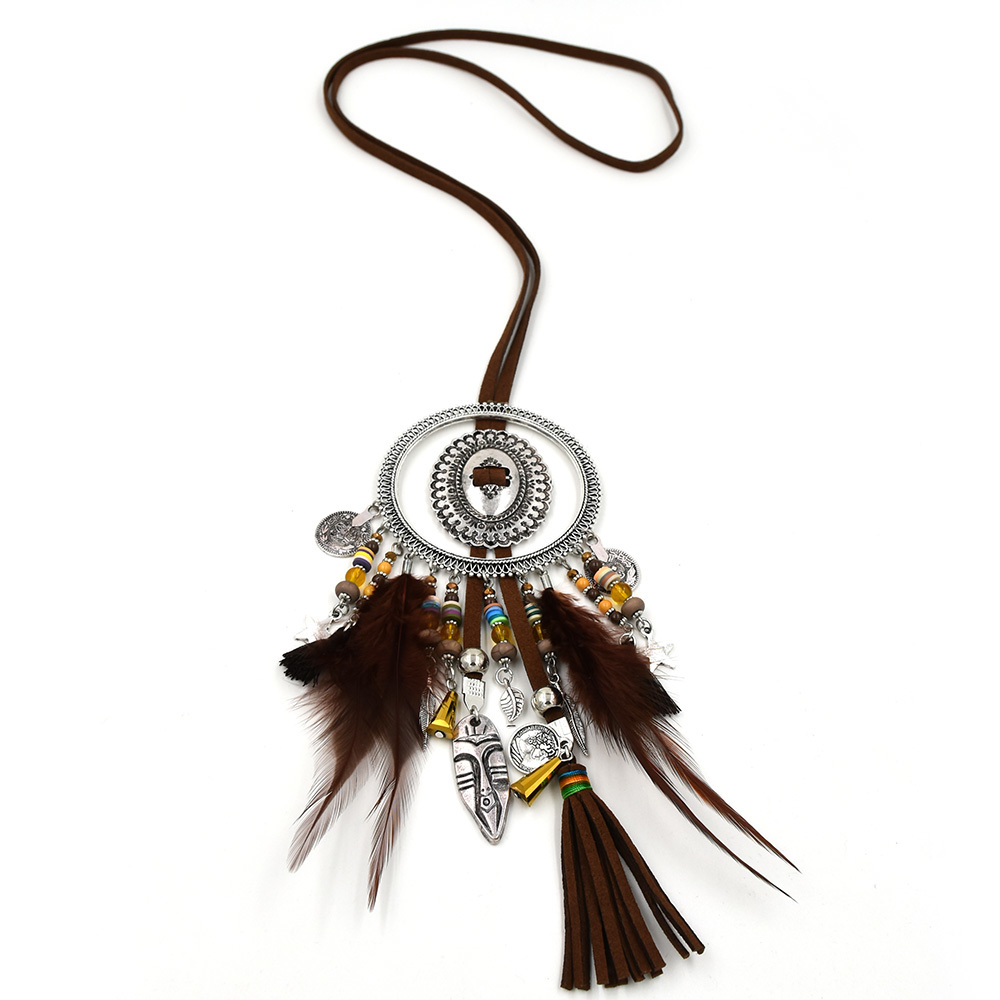 New ethnic necklace africa mask charm pendants national pendant necklace Tibetan silver vintage boho ethnic necklace