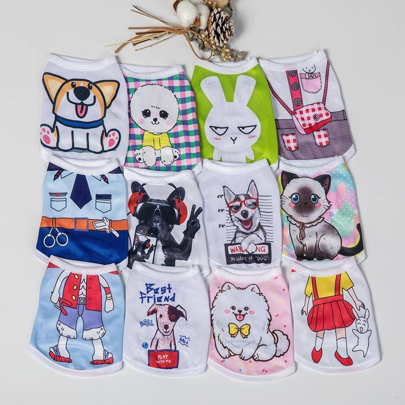 Cartoon Dog clothes cat pet clothes Bichon Teddy Bomei mesh breathable spring and summer vest thin XD23786
