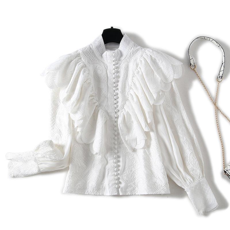 Australia catwalk lace ruffled lantern sleeves embroidered shirt + printed shorts