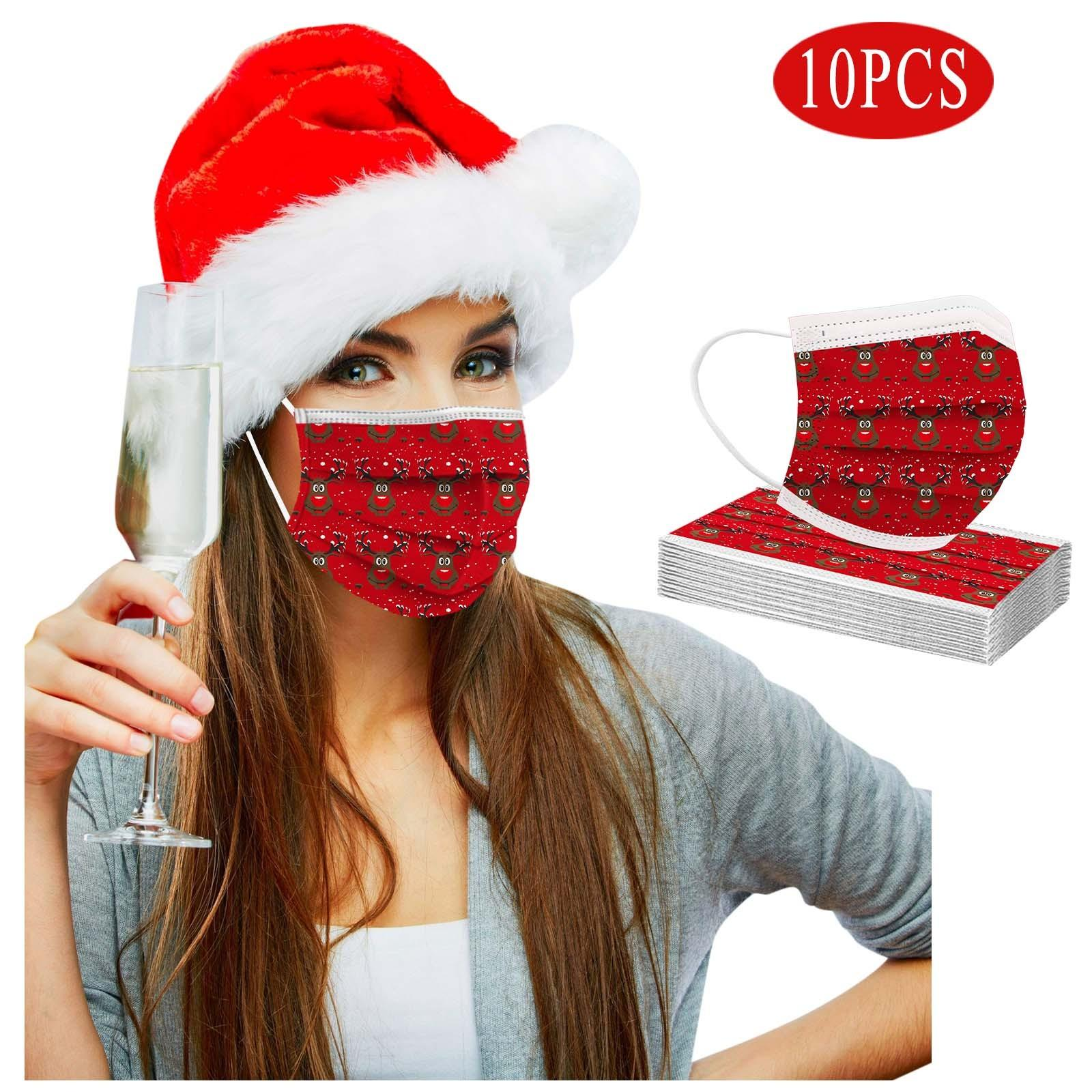 10/Adult Christmas Mask Headband Bandana Disposable Face Mask Navidad Natal Mascarillas Desechables Masque Jetable Adulte jllWUN