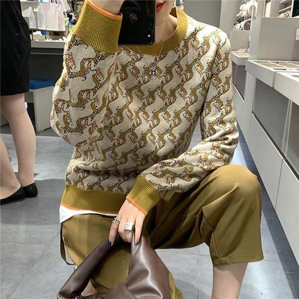 New Knitted Plaid Sweater Women Female Sweaters 2020 Autumn Fashion printing pattern Casual Lady Coats Winter Clothes