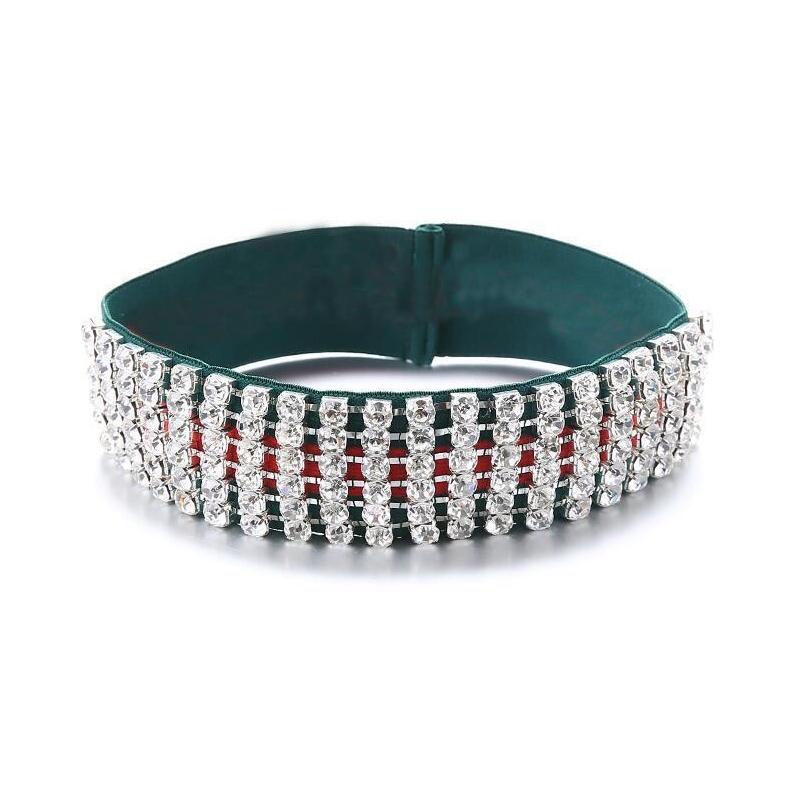 Christmas Party Famous Pattern Striped Hair Bands Full Rhinestone Elastic Headband Designer Headband Bandana H jllWnA ladyshome