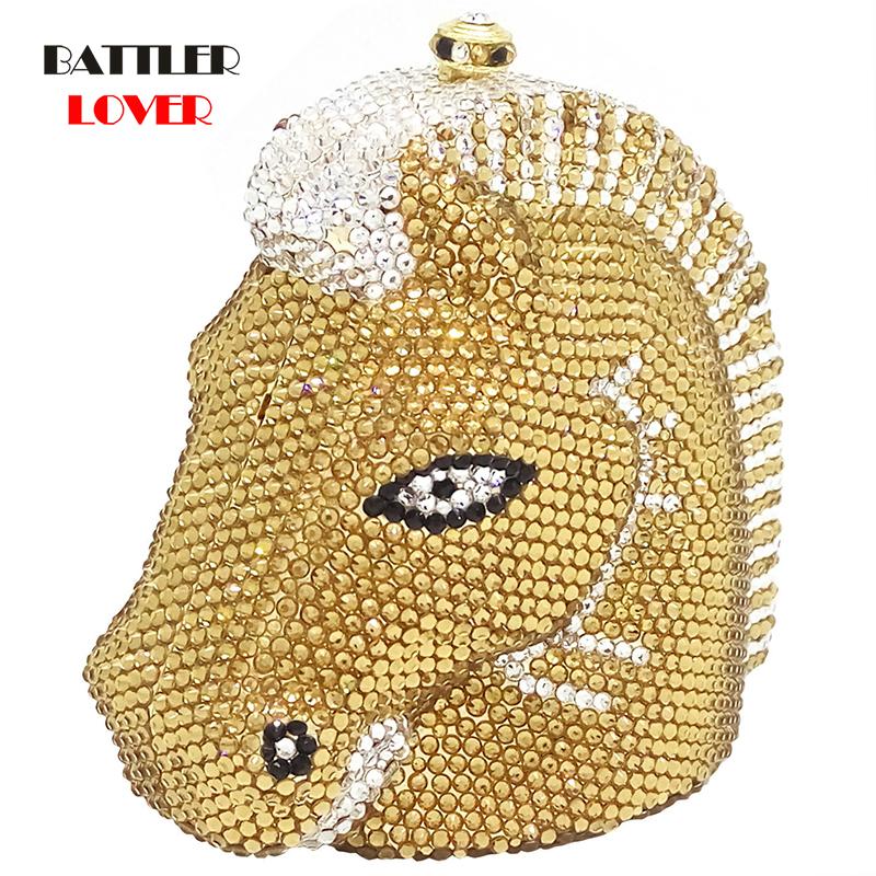 Luxury Diamond Bag Elegant Zebra & Horse Head Women Mini Crystal Evening Purses and Handbags Wedding Party Minaudiere Clutch Bag