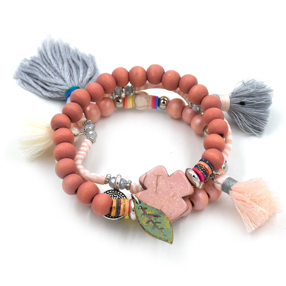 New Bohemia Boho Chic beaded bracelet tassel charms bracelet multi layers colorful beaded chain leaf charm Bracelets for women