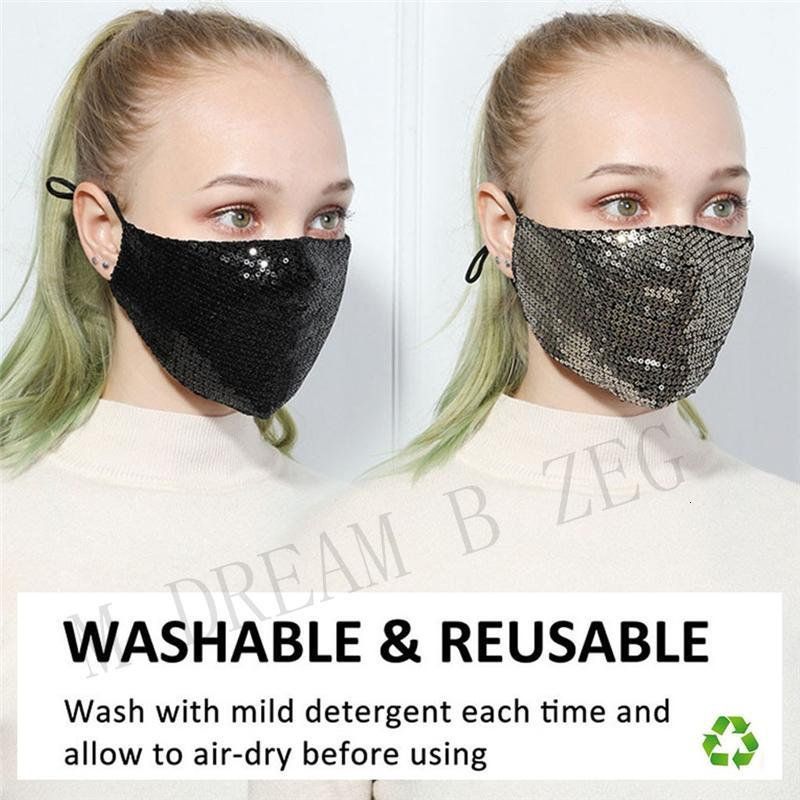 Reusable Bling Sequins Mask Washable Face Shield Shiny Cotton Face Mask Dustproof Mouth Face Cover Designer Party Masks