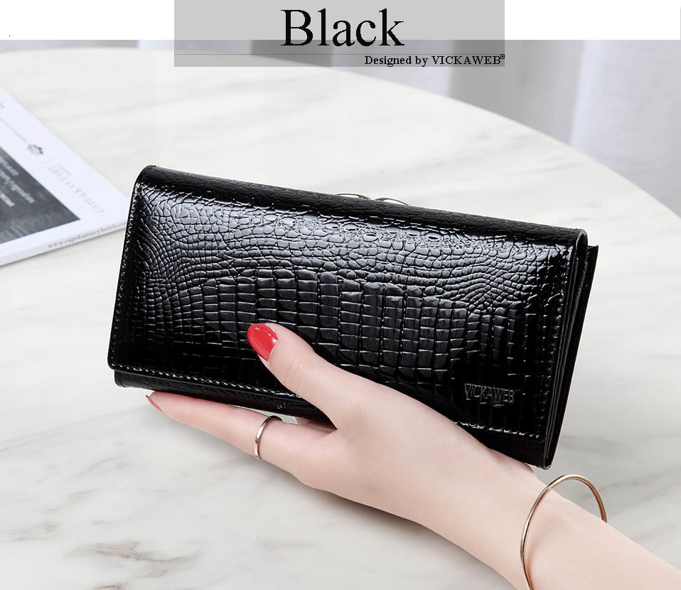 VICKAWEB Long Thick Wallet Female Fashion Alligator Purse Women Genuine Leather Standard Wallets Hasp womens wallets and purses-AE1518-013