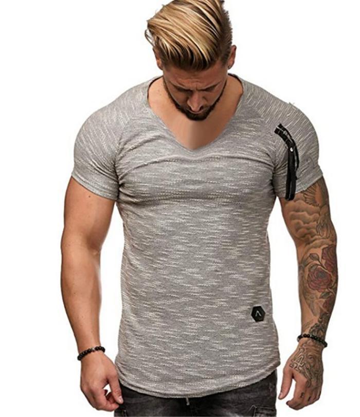 V-Neck Zipper Mens Causal T-shirts Summer Solid Color Option Men Designer Loose Tops Sport Tees